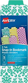 Avery Mini Snap-In Plastic Bookmark Dividers, 5 Tabs, 1 Set, Assorted Designs (24922)