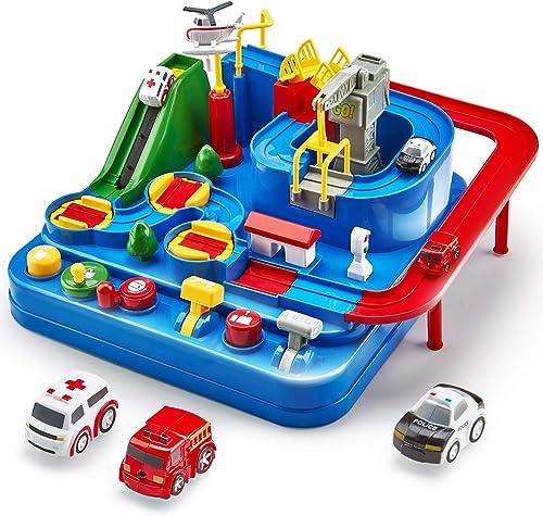Cubicfun Piste de Voiture Jouet Enfant 2 3 4 5 6 ans, City Rescue Car Piste Aventure de Voiture Jouet avec Hélicoptèr...