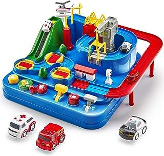 Cubicfun Piste de Voiture Jouet Enfant 2 3 4 5 6 ans, City Rescue Car Piste Aventure de Voiture Jouet avec Hélicoptère, Bu...