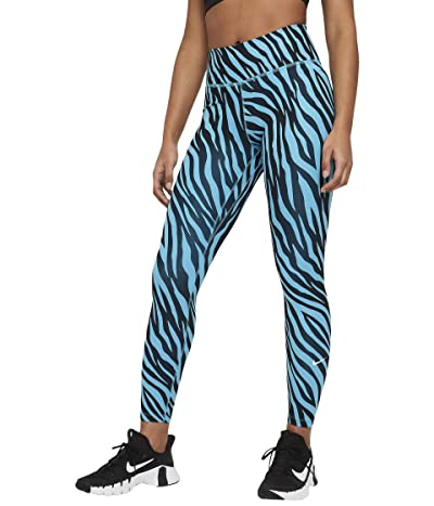 Nike One 7/8 All Over Print Tights Icon Clash (Chlorine Blue/White) Women