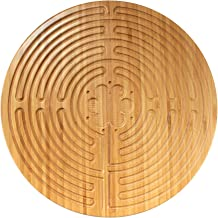 """BambooMN 12.5"""" Dia Carbonized Brown Bamboo Finger Labyrinth for Meditation and Prayer, 11 Circuit Chartres Style, 1 Piece"""