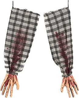 Blue Panda Pack of 2 Hanging Zombie Arms - Severed Arms - Halloween Decorations - Spooky Props, 23.25 x 1.1 x 4.5 Inches, Plaid Sleeves