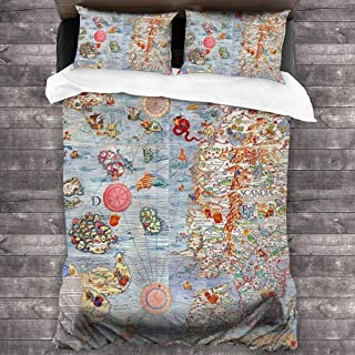 XCZWCDFG Carta Marina Sea Monster Map 3 Piece Quilt Cover (1 Quilt Cover + 2 Pillowcases) Double Size Breathable Bedding