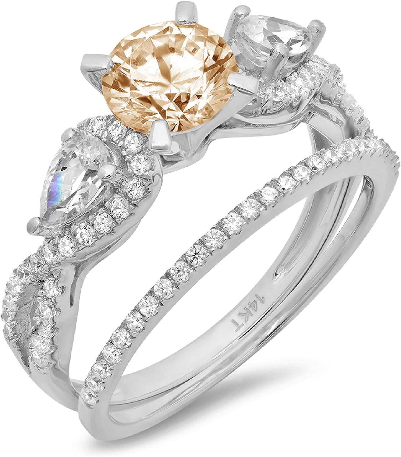 2.0ct Round Pear Cut Solitaire 3 stone Accent Designer Genuine Natural Morganite Engagement Promise Statement Anniversary Bridal Wedding Ring Band set Solid 14k White Gold