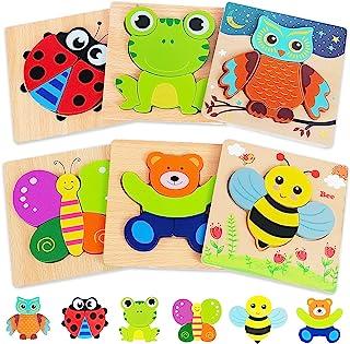 Rompecabezas de madera para niños de 1 2 a 3 años de edad, 6 unidades de rompecabezas de animales Montessori Juguetes, aprendizaje educativo Navidad regalos de cumpleaños para niñas niños de 1 a 3 años