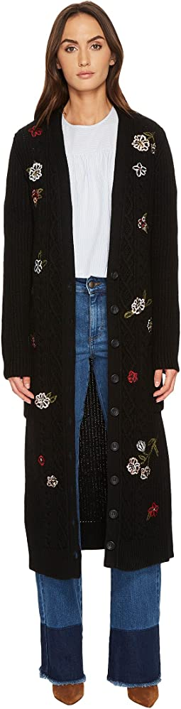 RED VALENTINO - Carded Mix Wool Yarn and Aran Stitch with Flower Embroidery Sweater