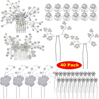 inSowni 40 Pack Bridal Wedding Hair Side Combs+U Shaped Hair Pins Clips Pieces Barrettes Jewelry Rhinestone Pearl Flower A...