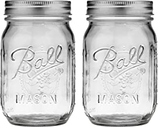 Ball 389579 Pint Regular Mouth Mason, Pack Of 2, Clear