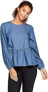 Women's Long Sleeve Flannel Peplum Blouse - Medium Wash -