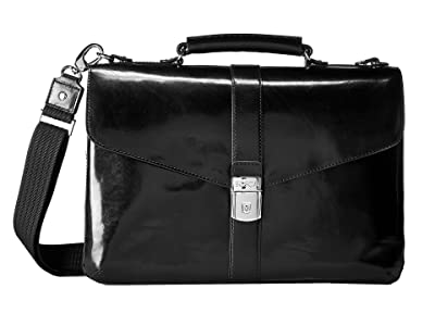Bosca Flapover Brief (Black) Briefcase Bags