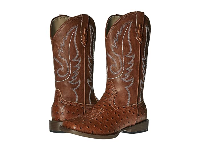 Roper Kids  Faux-Leather Ostrich Print (Big Kid) (Light Beige) Cowboy Boots