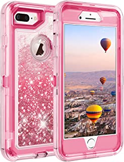 Coolden Case for iPhone 8 Plus Case Protective Glitter Case for Women Girls Cute Bling Sparkle 3D Quicksand Heavy Duty Hard Shell Shockproof TPU Case for iPhone 6s Plus 7 Plus 8 Plus, Pink