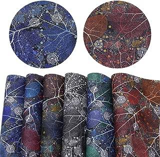 David Angie Leaf Printed Faux Leather Fabric Sheet 6 Pcs 8