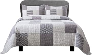 Soul & Lane in The Mist 100% Cotton 3-Piece Real Patchwork Quilt Set (Queen) | with 2 Shams Pre-Washed Reversible Machine Washable Lightweight Bedspread Coverlet