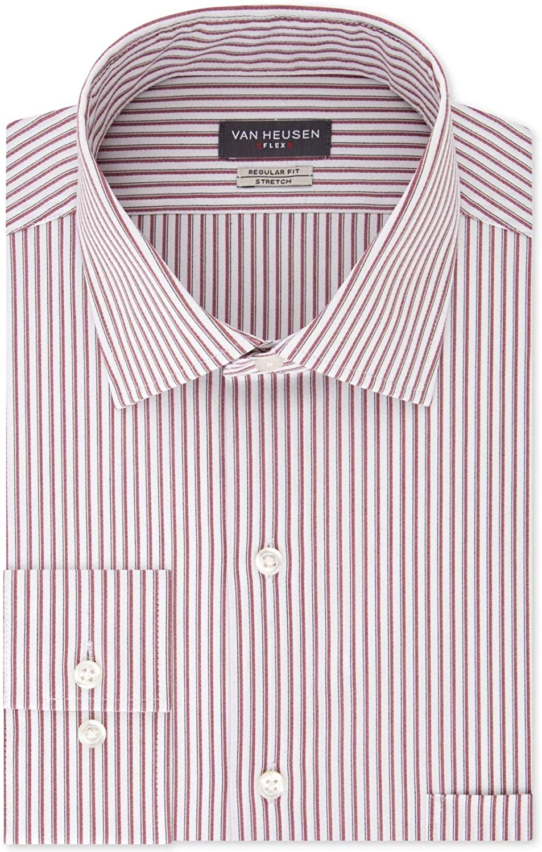 Van Heusen Mens Dress Shirt Regular-Fit Striped Flex Red 16
