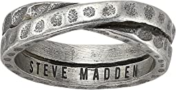 Hammered Cross Over Band Ring in Oxidized Stainless Steel