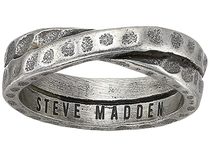Steve Madden Hammered Cross Over Band Ring in Oxidized