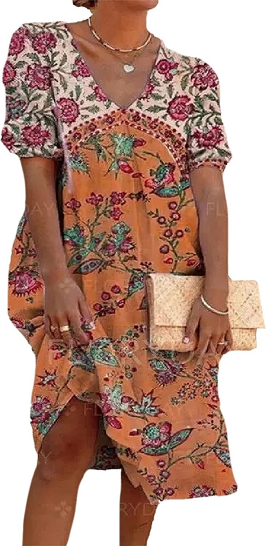 Women's Plus Size Floral Boho Summer Casual Loose Midi Dresses Short Sleeve V Neck T Shirt Dress
