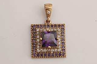 Turkish Handmade Jewelry Small Square Shape Amethyst and Round Cut Topaz 925 Sterling Silver Pendant