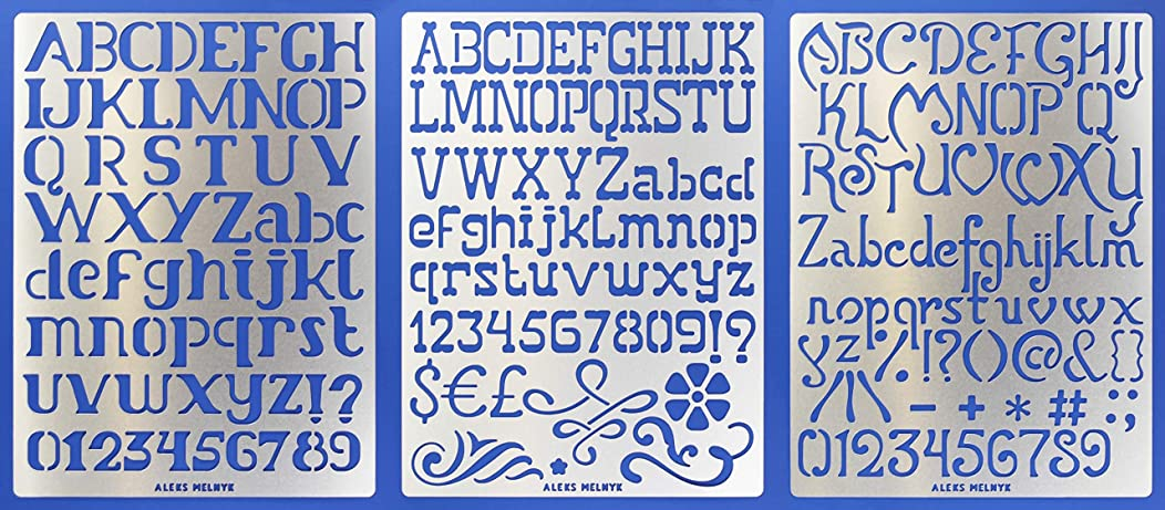 Aleks Melnyk #45 Metal Journal Stencils/Alphabet Letter Number, ABC - 1 inch/Stainless Steel Stencils Kit 3 PCS/Templates Tool for Wood Burning, Pyrography and Engraving/Scrapbooking/Crafting/DIY
