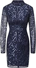 VVMCURVE Women'sMesh Sequin Embroidery Slim Long Sleeve Sexy Costume Party Club Dress