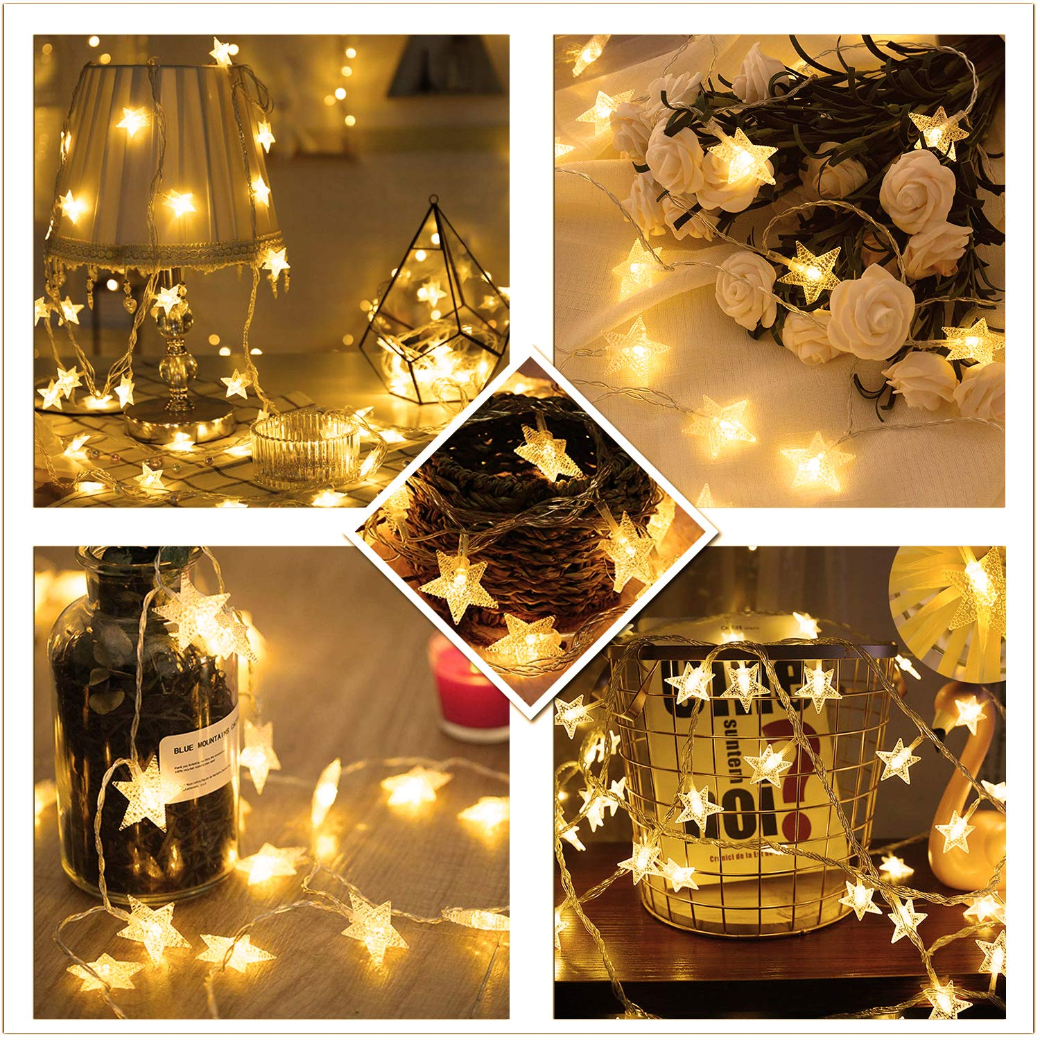 USB /& Battery Operated Waterproof 50 LED Star String Lights 21FT+3.2FT 8 Modes
