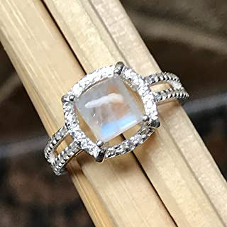 Natural Rainbow Moonstone 925 Solid Sterling Silver Engagement Ring Size 6.75, 7