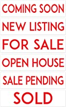 """METAL Real Estate Sign Riders, STARTER SET of 6, COMING SOON, NEW LISTING, FOR SALE, OPEN HOUSE, SALE PENDING, SOLD : Double Sided, PREMIUM and Durable, 6"""" x 24"""" by PRODUCT80"""