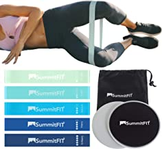 Core Sliders Mini Bands by SummitFIT Colorado - Legs and Butt (2) Dual Sided Gliding Discs Exercise Sliders (5) Blue Mint Latex Resistance Bands Set for Low-Impact Glute Abs Booty Building Strength