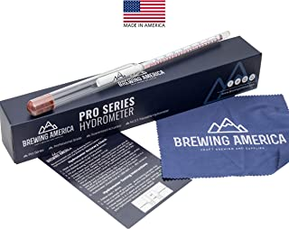 American-Made Specific Gravity Hydrometer Alcohol ABV Tester - Pro Series Fermentation Testing Homebrew: Beer, Wine, Cider, Mead - Triple Scale Hydrometer by Brewing America