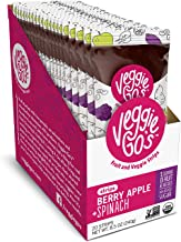 Veggie-Go's by Wildmade Berry, Apple + Spinach Organic Fruit Leather with Veggies.  Vegan Snacks with No Added Sugar, Gluten Free Snacks, Healthy Snacks for Kids Organic Fruit Snacks (20 pack)