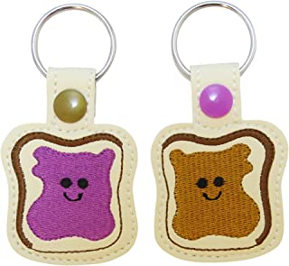 PB&J Keychains for Couples, BFFS and Loved Ones - Set of 2 Embroidered Vegan Leather Peanut Butter and Jelly Key Rings.