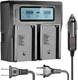 Neewer Cargador Doble con Pantalla LCD & 3Plug (Enchufe USA + Enchufe UE + Adaptador para Coche) para baterías de videocámaras Sony