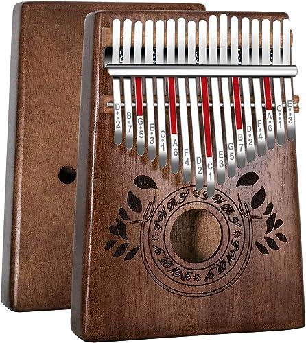 Kalimba 17 Clés Pouce Piano, Portable pouce doigt, bois africain de haute qualité, Mbira avec accordeur, sac de piano...