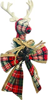Country Plaid and Burlap Christmas Tree Topper with Bow (Plaid Reindeer)