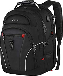 Travel Laptop Backpack,Large Capacity Backpack with USB Charging Port for Men Women,TSA Friendly Water Resistant College School Bookbag Computer Bag with Luggage Sleeve Fit 17inch Laptop,Black