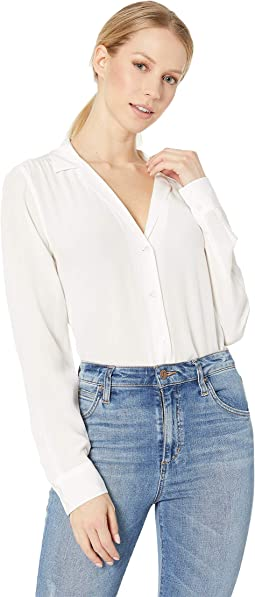 Adalyn V-Neck Button Up Solid