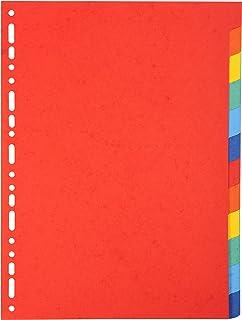 Exacompta - Réf. 2012E - Intercalaires en carte coloris vifs recyclée 220g/m2 avec 12 onglets neutres - Format à classer A...