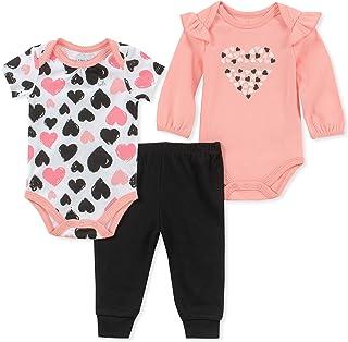 Calvin Klein- Conjunto de tres piezas para bebé, niña