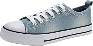 PepStep Canvas Sneakers for Women/Light Blue/Navy/Black Casual Shoes Low Top Lace up Fashion Sneakers