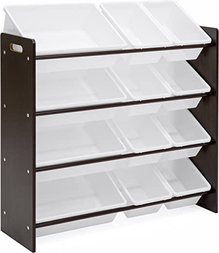 Kids' Furniture ✅Best Choice Products 4-Tier Wooden Kids Toy Storage Organizer Shelves Rack for Playroom, Bedroom, Living Room, Class Room w/ 12 Removable Plastic Bins, White