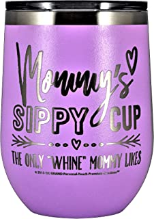 MOMMYS SIPPY CUP WINE GLASS GIFT TUMBLER – Engraved Stainless Steel Stemless Wine Tumbler 12 oz Vacuum Insulated Travel Coffee Mug Hot Cold Drink Mothers Day Christmas Birthday Mom (Pastel - L-Purple)
