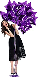 Treasures Gifted Purple Foil Star Balloons 18 Inch Sparkly Mylar Balloon Pack of 12 for Birthday Under The Stars Party Sweet Graduation Wedding Party Supplies