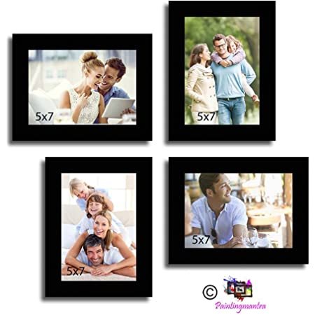 Painting Mantra Art Street Wall Collage Photo Frame Timeline (Black, Set of 4)