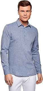 oodji Ultra Hombre Camisa Ancha con Dibujo Pequeño