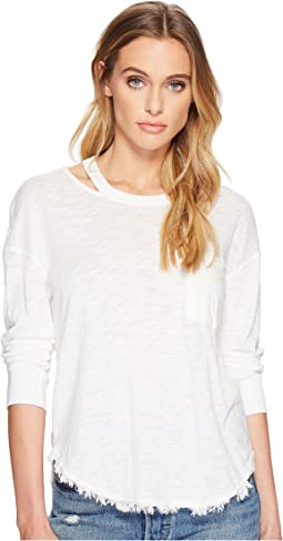 Splendid - Seaport Mixed Media Cut Out Neck Long Sleeve Tee