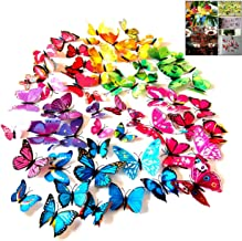 iwobi 72 Stuks Kleurrijke 3D Vlinder Muursticker DIY-Art Decor Handwerk Vlinder voor Woondecoratie Kamer Slaapkamer Decor