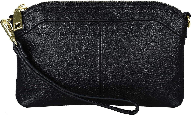 Diter Womens Leather Wristlet Zipper Clutch Wallet, Crossbody Bag Purse