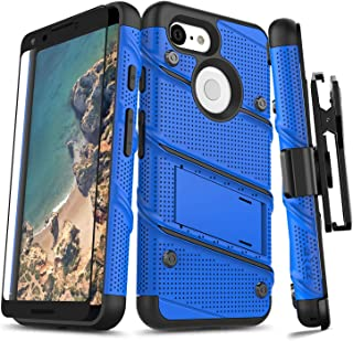 ZIZO Bolt Series Google Pixel 3 Case Military Grade Drop Tested with Full Glass Screen Protector Holster and Kickstand Blue Black