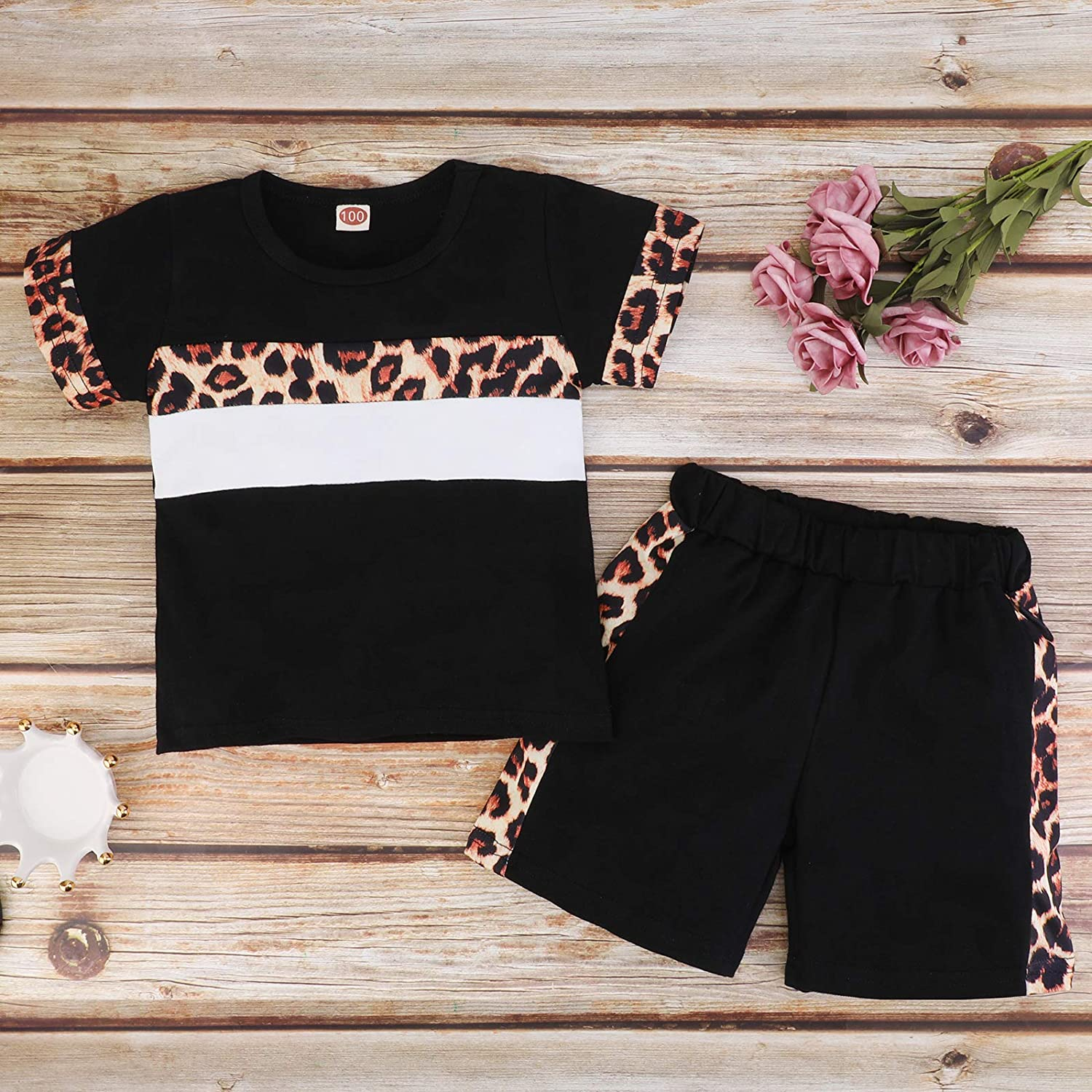 Toddler Girl Summer Clothes Short Sleeve Leopard T-Shirt Top + Shorts Pants 2PCS Baby Outfit Set